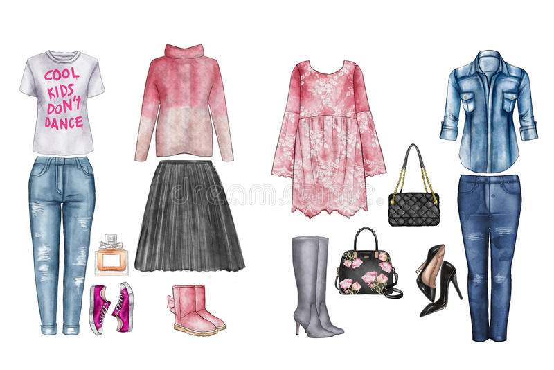 Watercolor digital illustration - watercolor fashion clip art set - Wardrobe essentials - Woman Apparel - Flat fashion sketch.  royalty free illustration