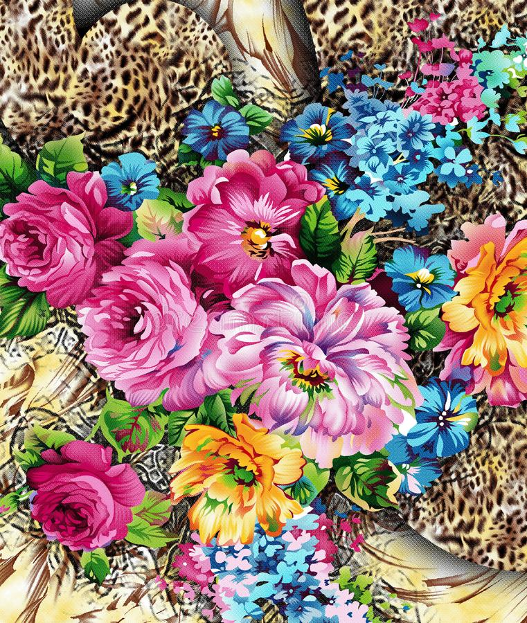 Watercolor digitel  flower pattern. Watercolor flower pattern on leaped skin royalty free stock images