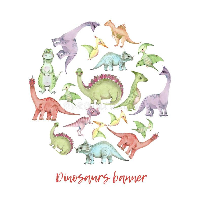 Watercolor dinosaurs banner royalty free illustration