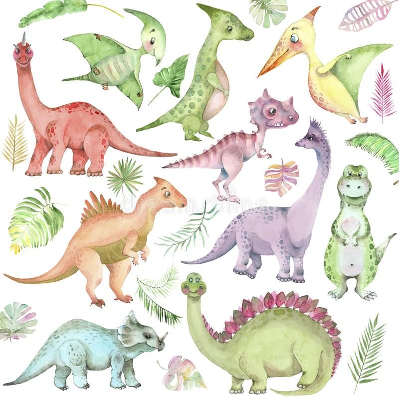 Watercolor dinosaurs collection royalty free illustration