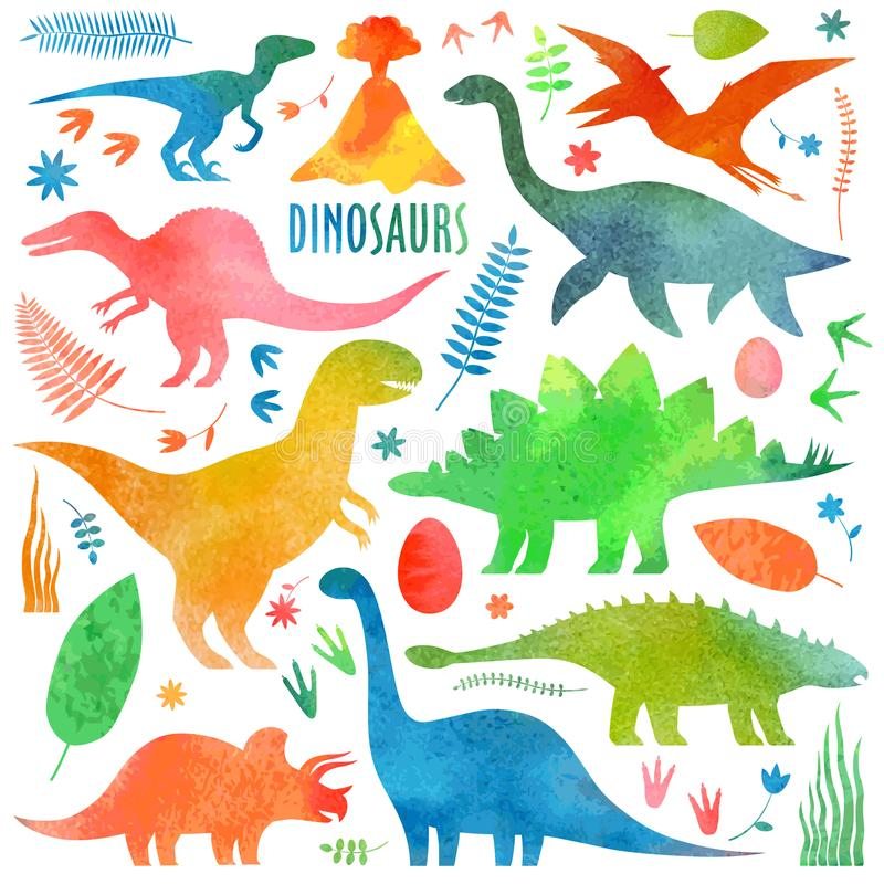 Dinosaurs arial in watercolor. Watercolor dinosaurus set. Dinosaurs isolated on white stock illustration