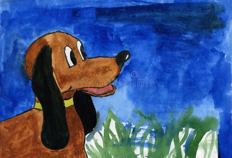 Download Watercolor dog stock illustration. Image of brown, puppy - 11594468