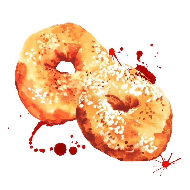 Watercolor donuts, διανυσματική απεικόνιση διανυσματική απεικόνιση