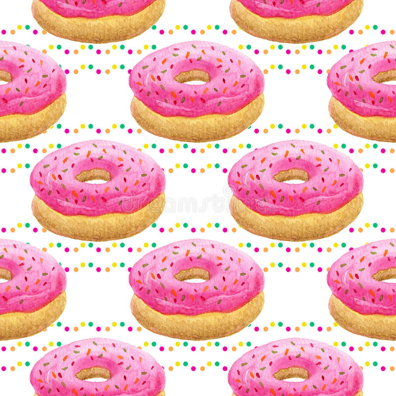 Watercolor donuts seamless pattern. Birthday background with sweets and confetti stock image