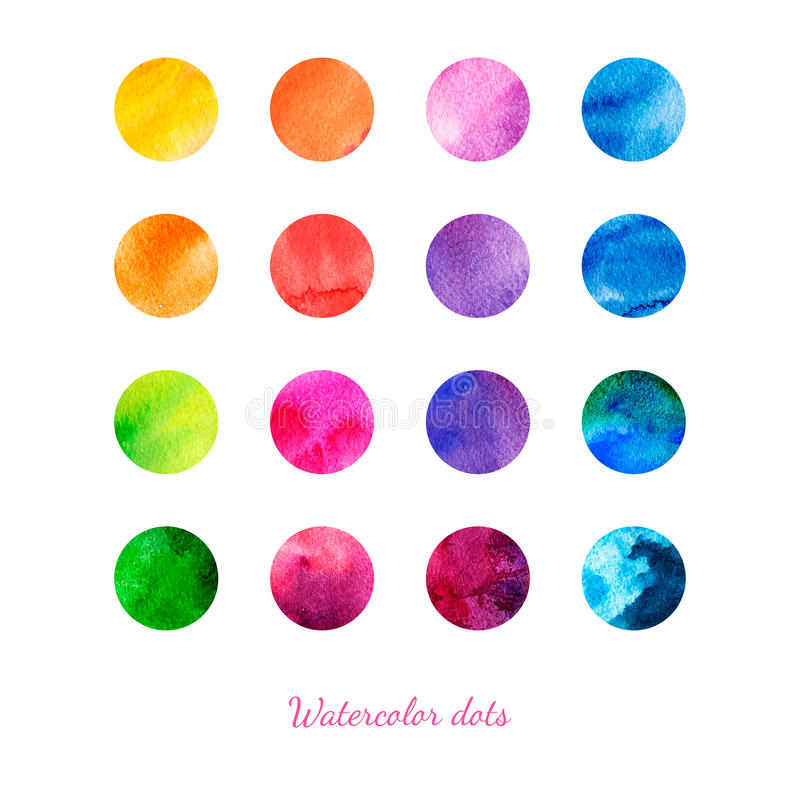 Watercolor dots. stock illustration