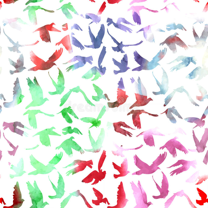 Free Watercolor Doves And Pigeons Seamless Pattern On White Background For Peace Concept And Wedding Design. Vector Royalty Free Stock Photo - 44717565