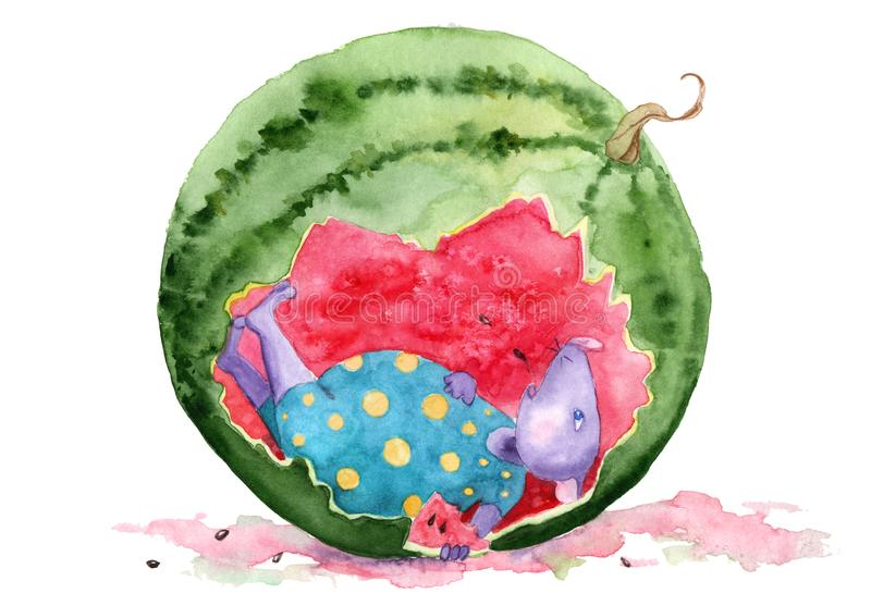 Watercolor drawing - adventures of a mouse eating watermelon royalty free illustration