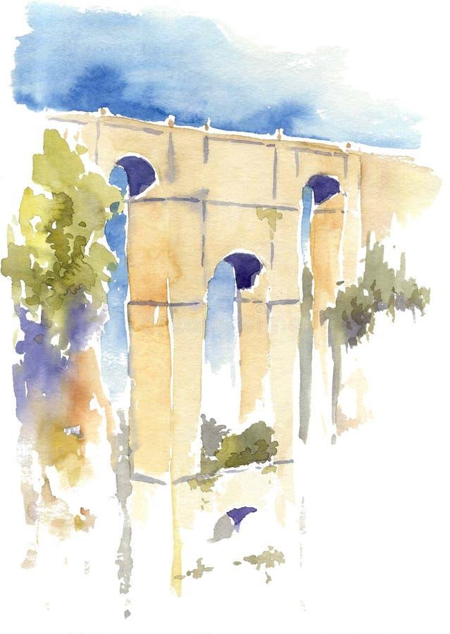 Watercolor drawing of an ancient Roman bridge royalty free stock image