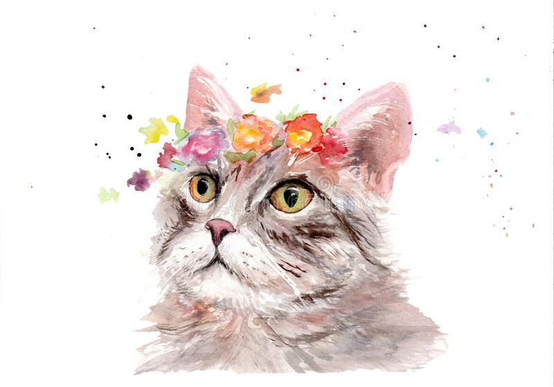 Watercolor drawing of an animal - cat in flowers stock illustration