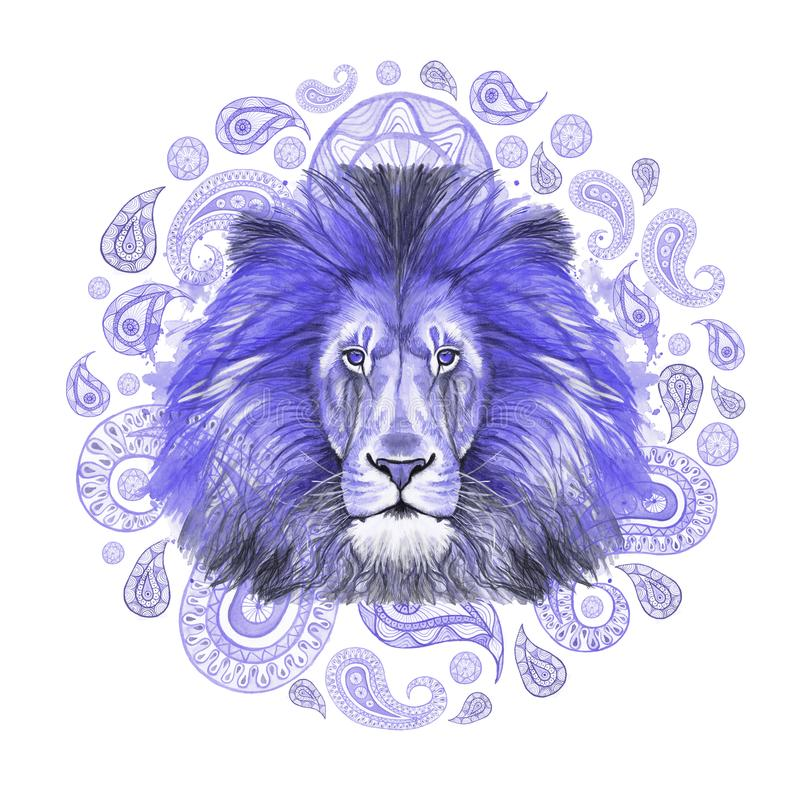 Watercolor drawing of an animal of a mammal predator, a blue lion, a blue mane, a lion-king of beasts, a portrait of greatness, st. Rength, kingdom, india vector illustration