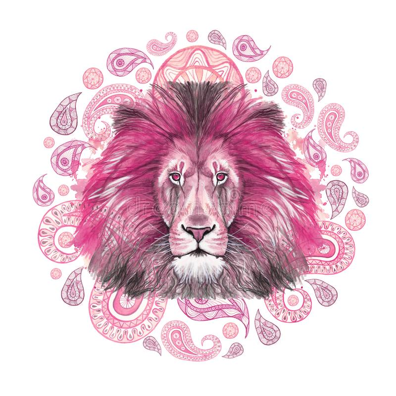 Watercolor drawing of an animal of a mammal predator, pink lion, pink mane, lion-king of beasts, portrait of greatness, strength,. Kingdom, india, Indian stock illustration
