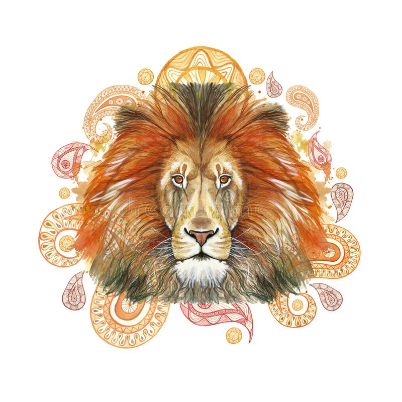 Watercolor drawing of an animal mammal predator, red lion, red mane, lion-king of beasts, portrait of greatness, strength, kingdom. India, Indian patterns stock illustration