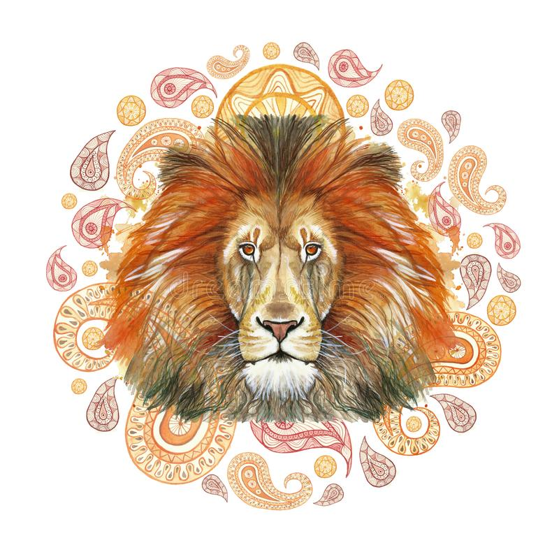 Watercolor drawing of an animal mammal predator, red lion, red mane, lion-king of beasts, portrait of greatness, strength, kingdom. India, Indian patterns royalty free illustration