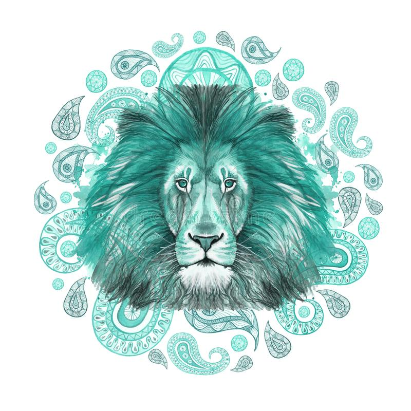 Watercolor drawing of an animal mammal predator, turquoise lion, turquoise mane, lion-king of beasts, portrait of majesty, strengt. H, kingdom, india, Indian vector illustration
