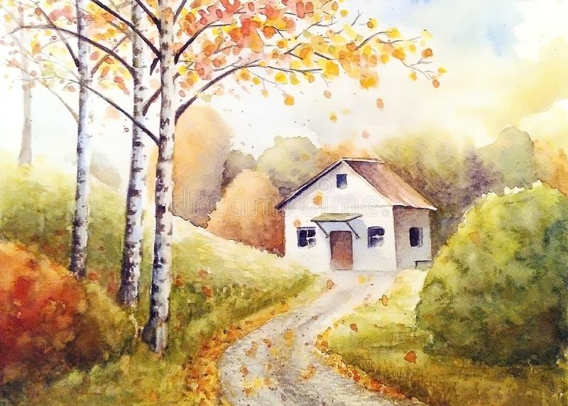 White house in the autumn forest stock illustration