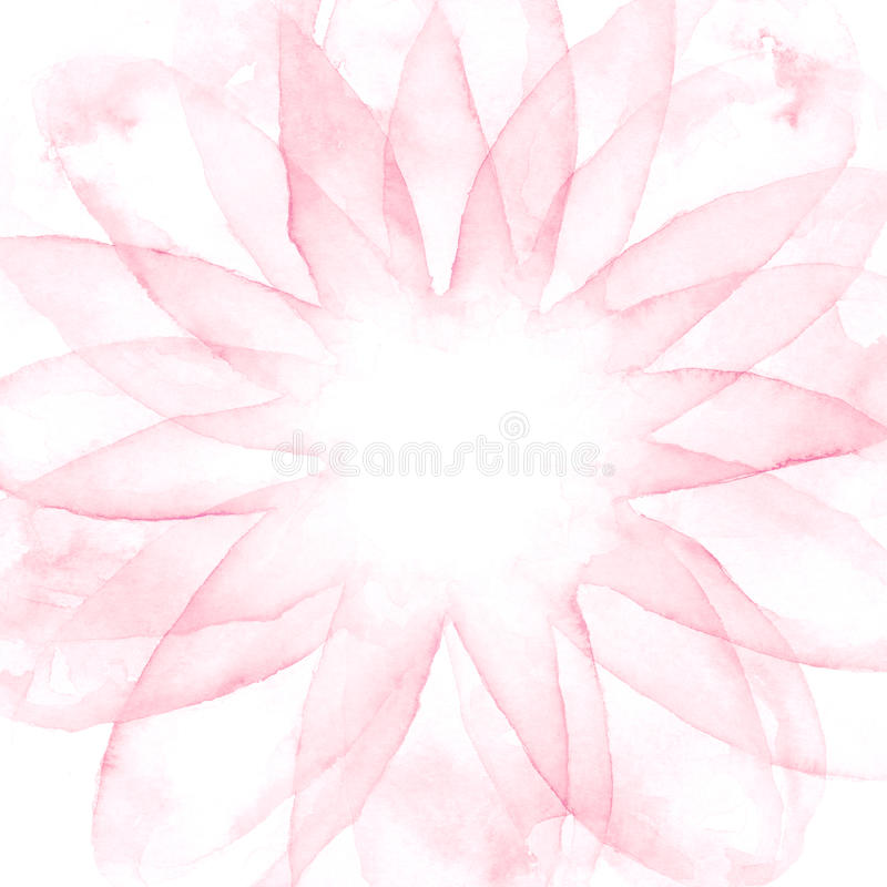 Watercolor drawing background. Fantasy fog. Pink Flower stock illustration