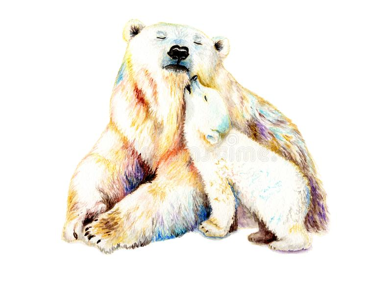 Watercolor drawing with a bear and a baby stock illustration