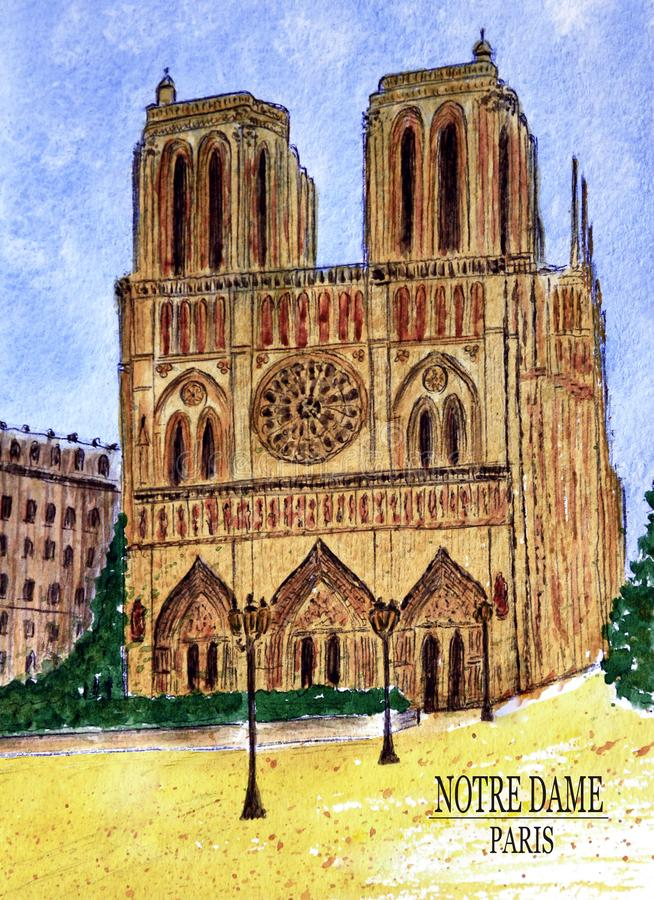 Cathedral of Notre Dame in Paris stock illustration