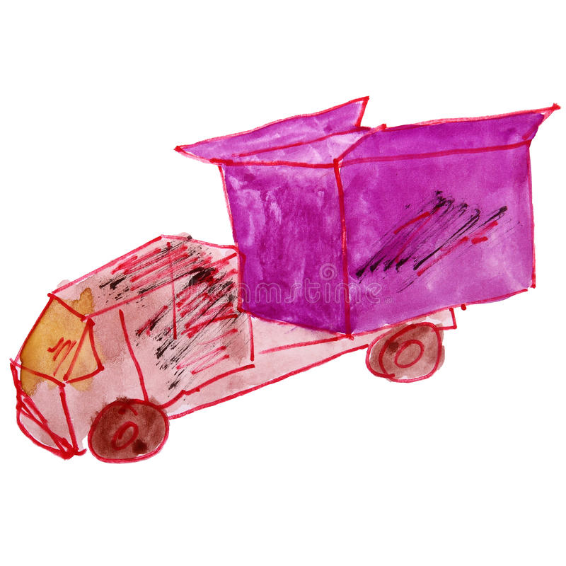 Watercolor drawing children toy truck cartoon on a royalty free illustration