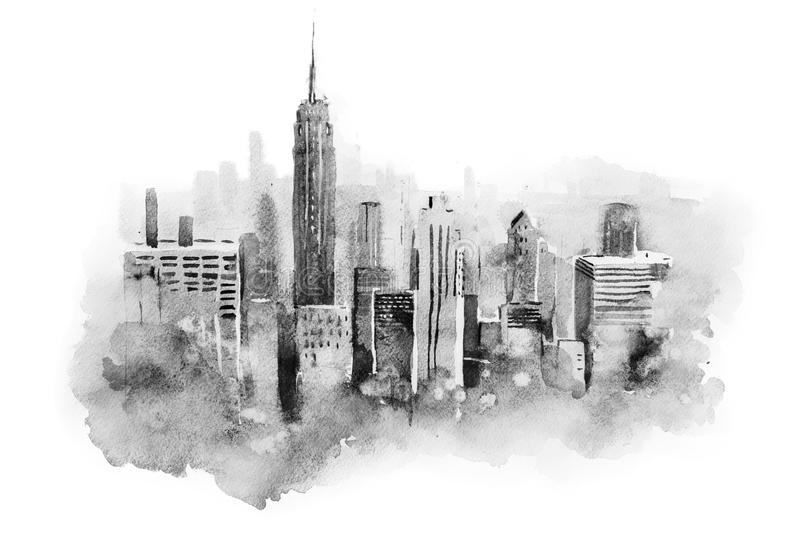 Watercolor drawing cityscape big city downtown, aquarelle painting. vector illustration