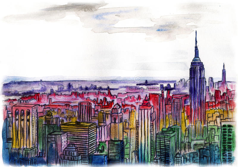 Watercolor drawing cityscape big city downtown stock illustration