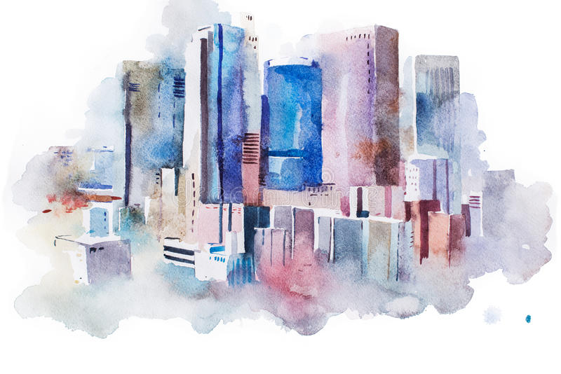 Watercolor drawing cityscape big city downtown, aquarelle painting stock illustration