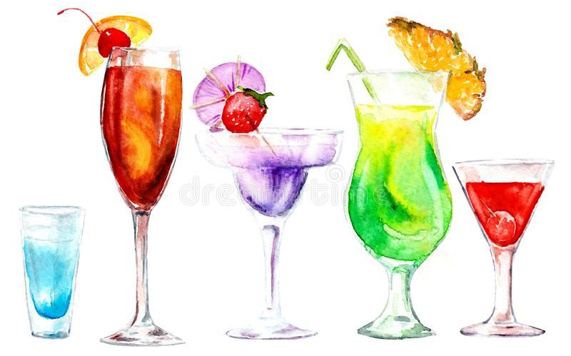Watercolor drawing cocktails. Watercolor drawing of different bright cocktails. processed in PS stock illustration