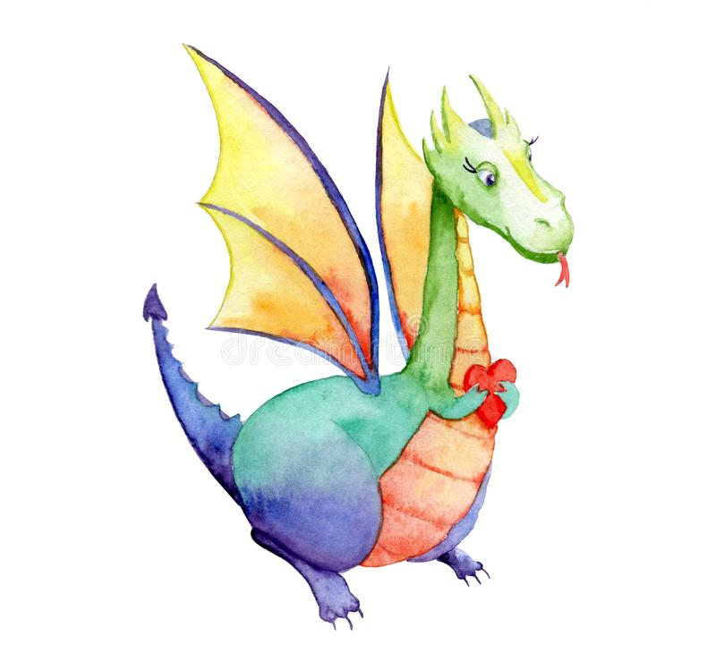Watercolor drawing of a fairytale dragon with a heart. Sketch royalty free stock images