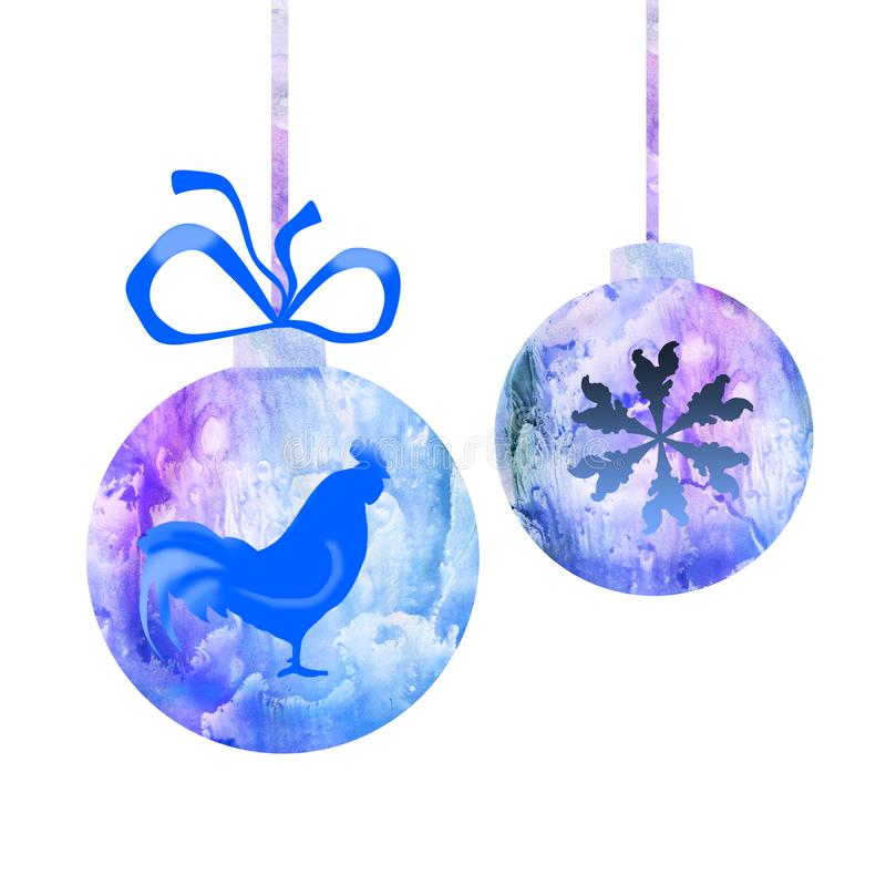 Watercolor drawing of free blue paint designs christmas balls isolated on white background with hand drawn Rooster, chinese zodiac. Symbol of New Year 2017 and stock illustration