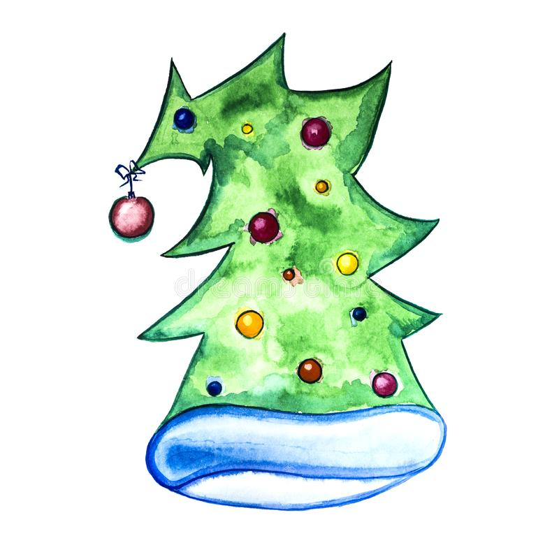 Watercolor drawing. Hat in the form of a decorated Christmas tree. Isolated on white. royalty free stock photography
