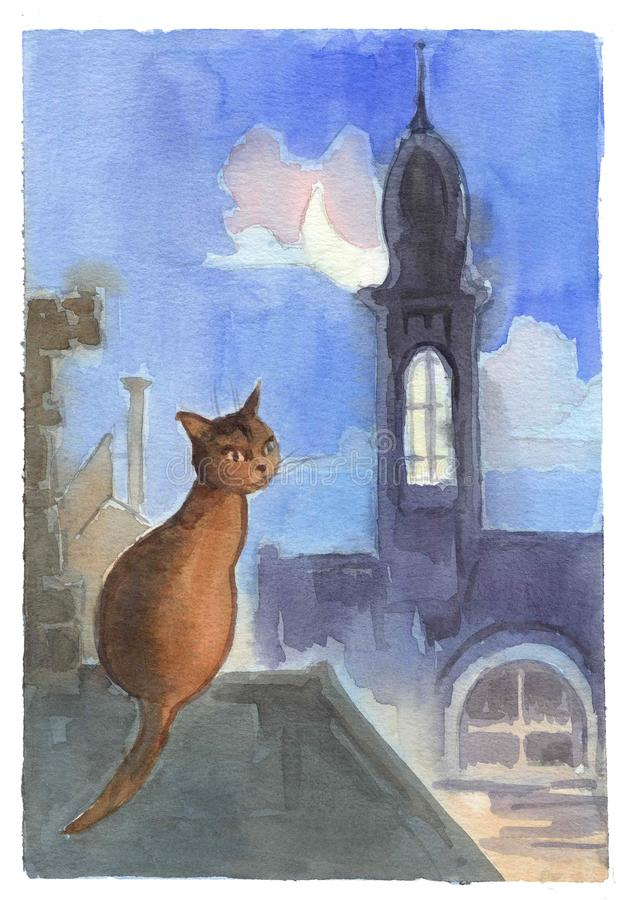 Watercolor drawing, illustration. A brown March cat sits on the roof in a moonlit night stock photography