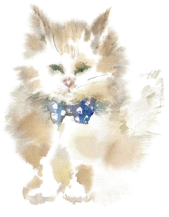 Watercolor drawing, illustration. Fluffy cat with a blue bow. royalty free stock photography