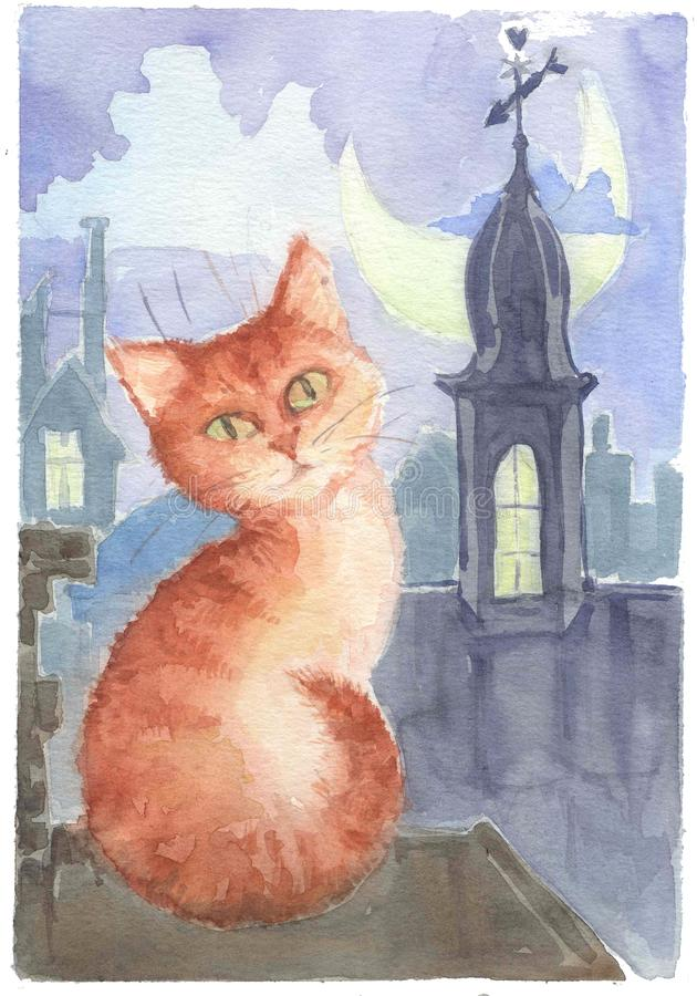Watercolor drawing, illustration. A red March cat sits on the roof in a moonlit night stock photo