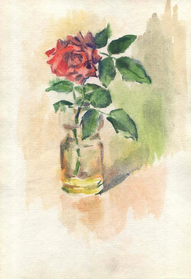 Watercolor drawing, illustration. A red rose bud in a vase and on a brown background. stock photo