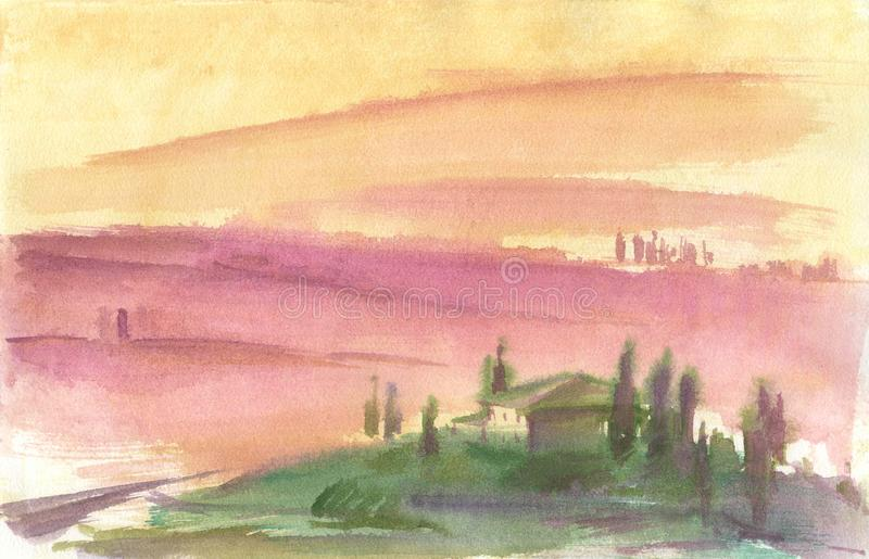Watercolor drawing, illustration. Romance of landscape of Provence royalty free stock image