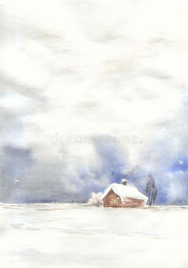 Watercolor drawing, illustration. Romance of countryside life in winter. stock image