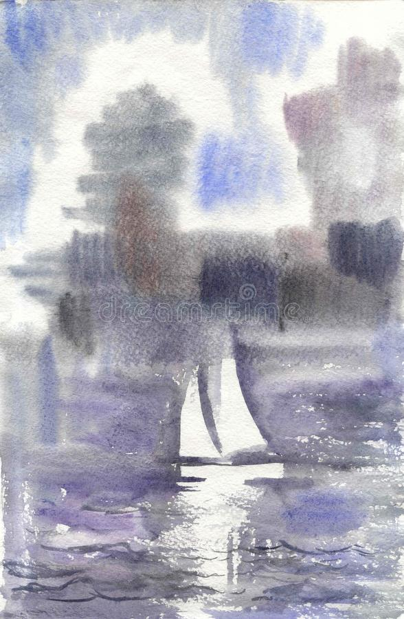 Watercolor drawing, illustration. Seascape with a sailboat. royalty free stock photo