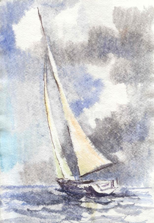 Watercolor drawing, illustration. Seascape with a sailboat. stock image