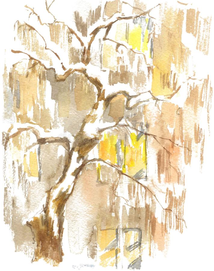 Watercolor drawing, illustration. View of the windows of the apartment house and the tree under the snow. stock photography