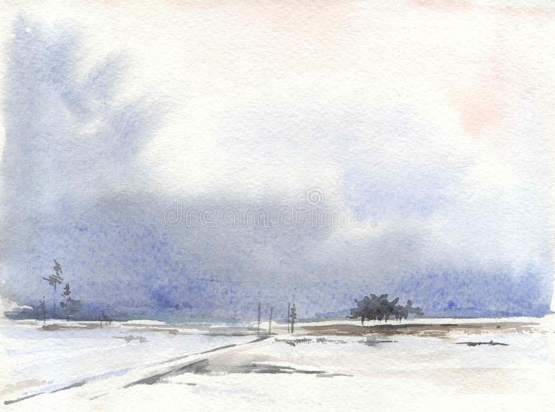 Watercolor drawing, illustration. Winter steppe landscape stock images