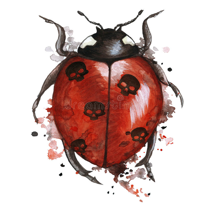 Watercolor drawing of an insect ladybird in a heluin theme with black skulls on the back with splashes on a white background, horr vector illustration