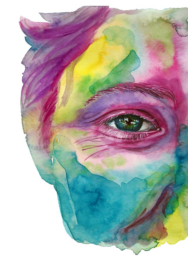 Watercolor drawing of a man`s head smeared in paint, multi-colored face, portrait, opened eye, glare on iris eyes, on holiday holi royalty free illustration