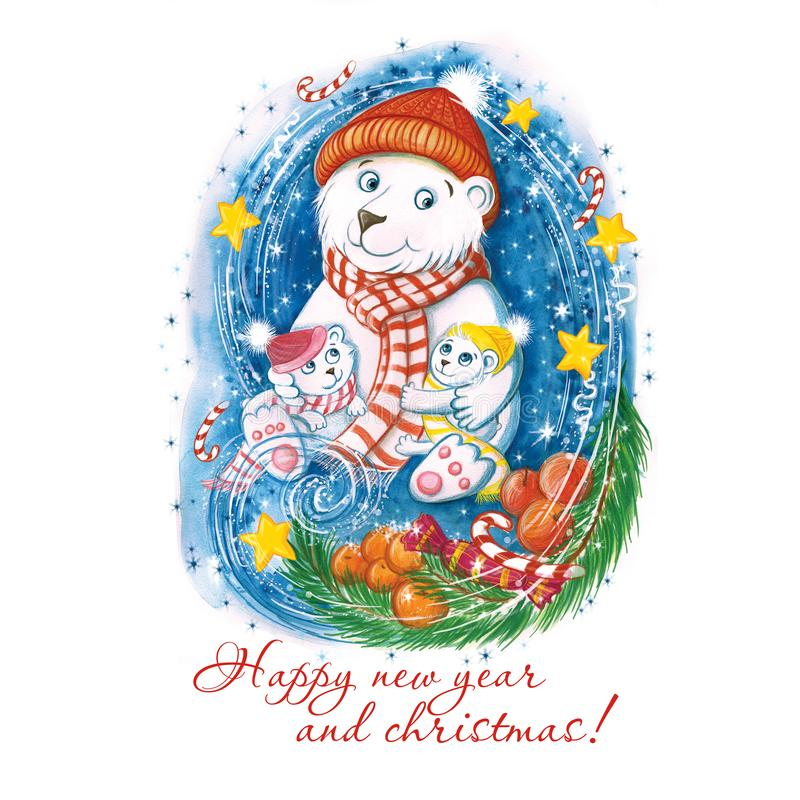 Watercolor drawing of a New Year`s polar bear with children, in warm colorful hats, with a Christmas tree, oranges and sweets, sno. W is flying around and stars royalty free illustration