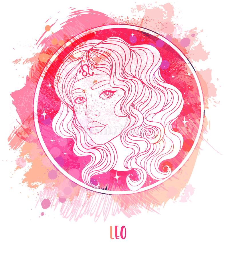 Free Watercolor Drawing Of Leo Astrological Sign As A Beautiful Girl Over Paining. Zodiac Vector Illustration Isolated On Royalty Free Stock Images - 191884029
