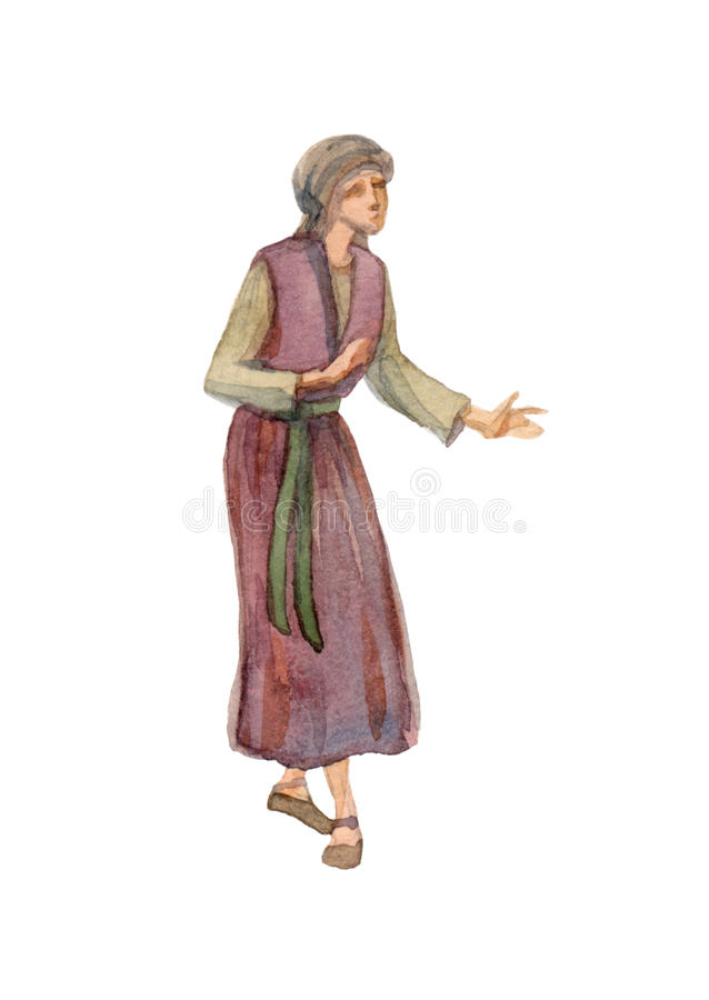 Free Watercolor Drawing Of Woman In Ancient Clothes Royalty Free Stock Photos - 87976498
