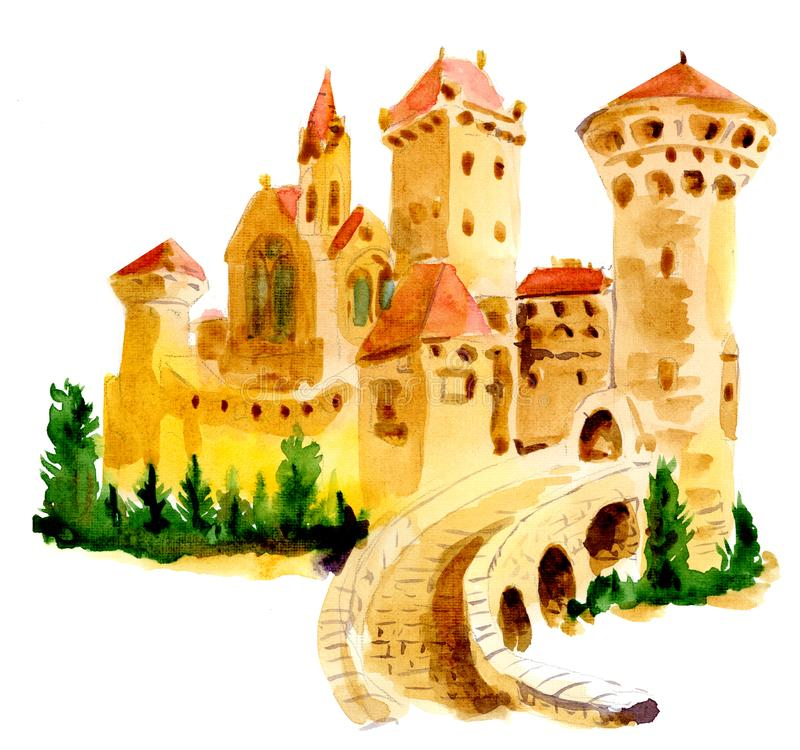 Watercolor drawing of an old European castle. vector illustration