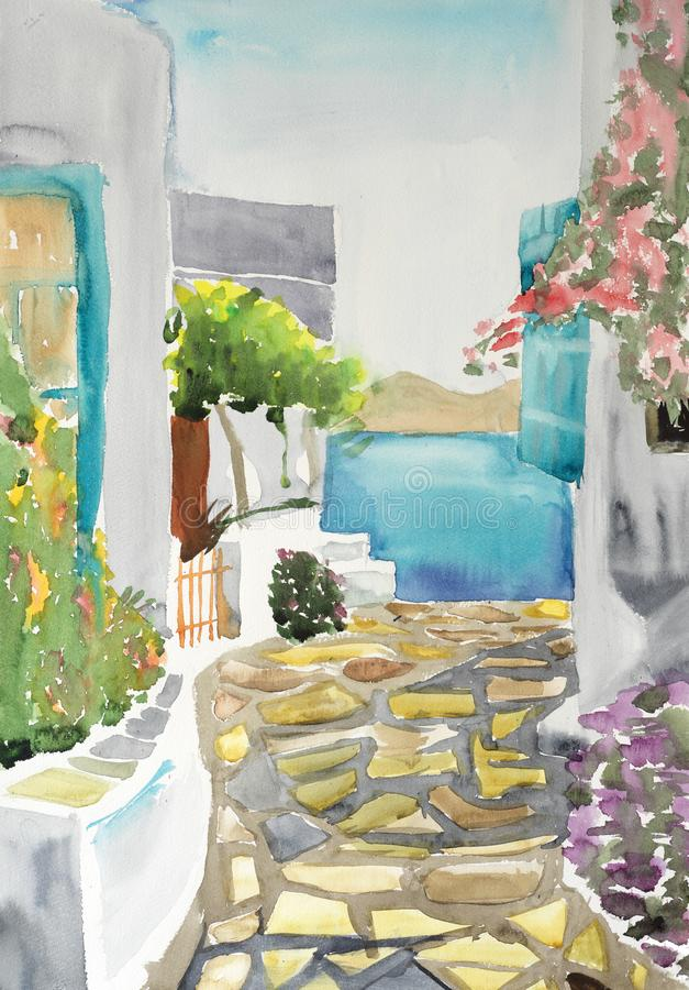 Watercolor drawing and painting of grecce village stock photos