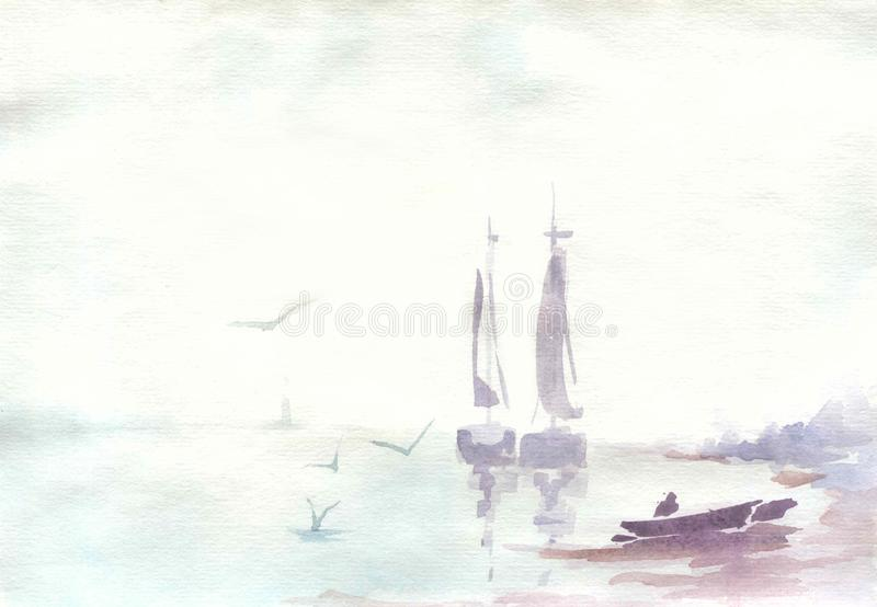 Watercolor drawing, illustration. A quiet landscape with three sailboats and a boat stock image