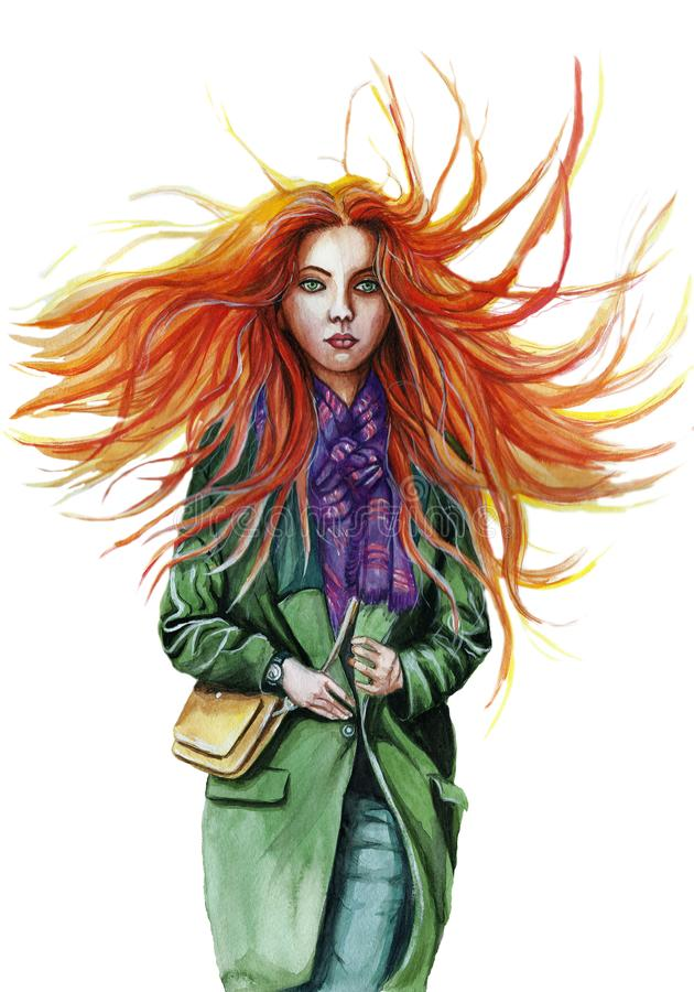 Watercolor drawing of a red-haired girl, where the hair develops in the wind in a green coat in a lilac scarf, with green eyes, in. The style of a facial royalty free stock photos