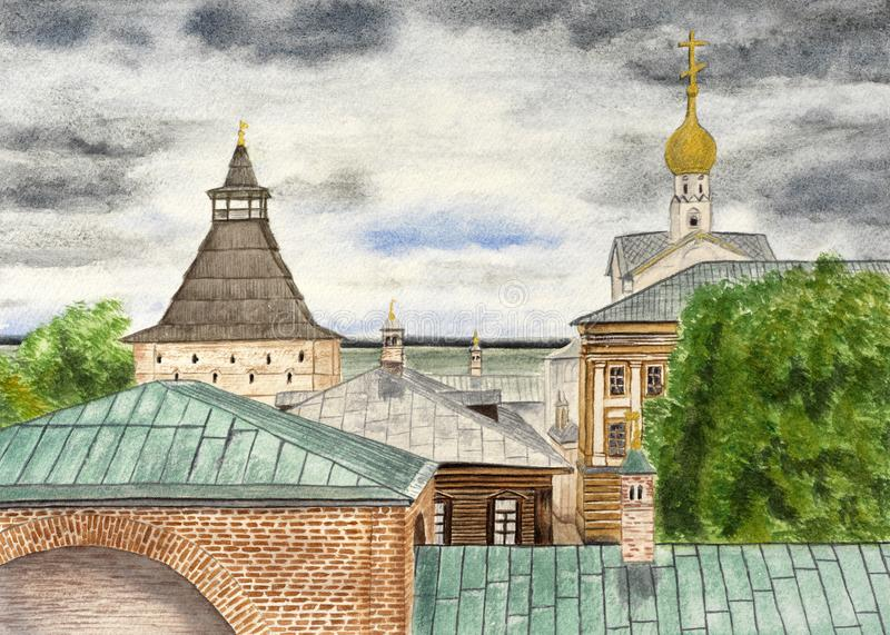 Watercolor drawing roofs of Rostov Velikiy royalty free stock images